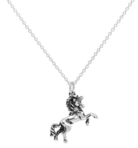 Sterling Silver Prancing Unicorn Necklace on Trace Chain 16 - 22 Inches - £8.60