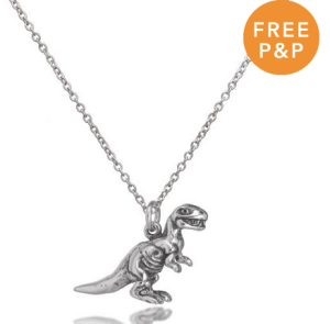 Sterling Silver Solid Tyrannosaurus Rex Dinosaur Necklace - £16.70
