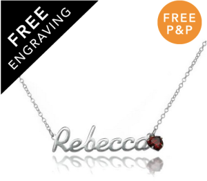 Sterling Silver Personalised Name Necklace with 5mm CZ Crystal Heart Birthstone - £25.40