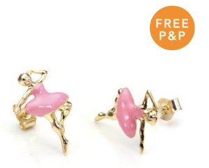 9ct Yellow Gold Pink Enamel Ballerina Stud Earrings - £30.60
