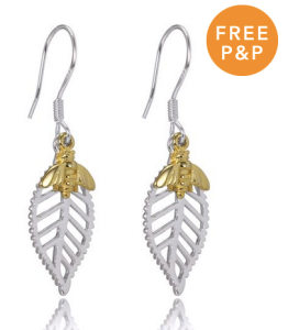 Abella Bee Earrings in Sterling Silver & 18ct Dipped Gold - £14.00