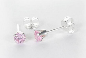 Sterling Silver Pink CZ 3mm Round Stud Earrings - £3.40