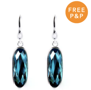 Sterling Silver & Blue Crystal Drop Earrings - £16.40