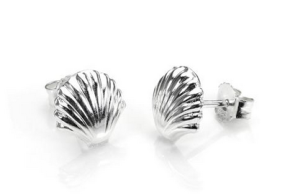 Sterling Silver Small Seashell Stud Earrings - £6.00