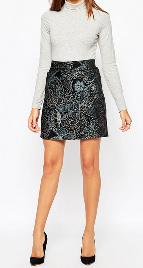 Warehouse Metallic Paisley Print Skirt - £38