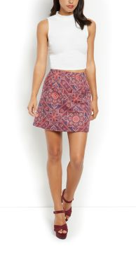 Red Abstract Jacquard Woven A-Line Skirt - £10