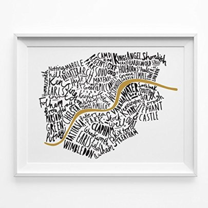 Illustrated-Map-of-London-print-A4-Black-and-Gold-typographic-map-of-London-London-word-map-map-print-map-poster-London-tube-London-poster-0
